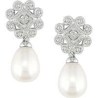 Miadora 10k Gold FW Pearl and 1/5ct TDW Diamond Drop Earrings (8-8.5 mm) (I-J, I2-I3)