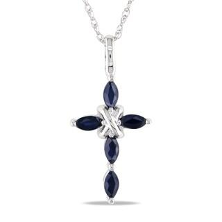 Miadora 10k White Gold Blue Sapphire Cross Necklace