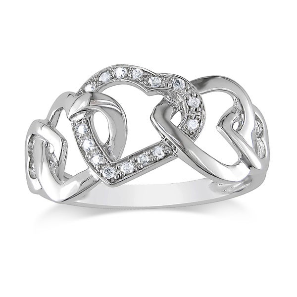 10k White Gold Diamond Interlocking Hearts Ring