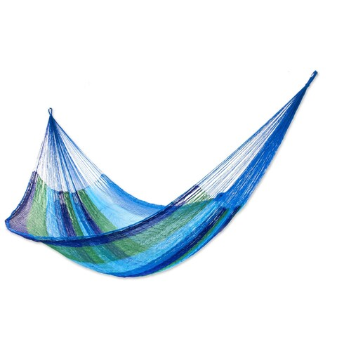 Handmade Sea Breeze Blue/Green Striped Outdoor Pool Shade Knotted Rope Nylon Double Hammock (Mexico)