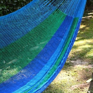 Sea Breeze Handmade Blue/Green Striped Outdoor Pool Shade Knotted Rope Nylon Double Hammock (Mexico)