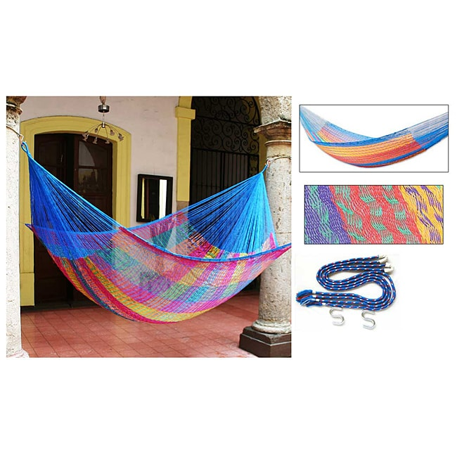 Rainbow Seascape Outdoor Garden Patio Pool Multicolor Rainbow Stripe Handmade Knotted Rope Style Nyl