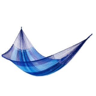 Azure Caribbean Outdoor Beach Garden Patio Pool Blue and Black Stripe Handmade Knotted Rope Style Nylon Double Hammock (Mexico)