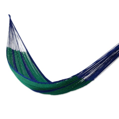 Handmade Caribbean Jungle Outdoor Garden Patio Pool Purple and Green Stripe Knotted Rope Style Nylon Double Hammock (Mexico)