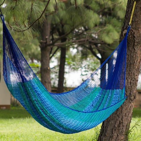 Large Deluxe Cool Lagoon Nylon Camping Style Hammock (Mexico)