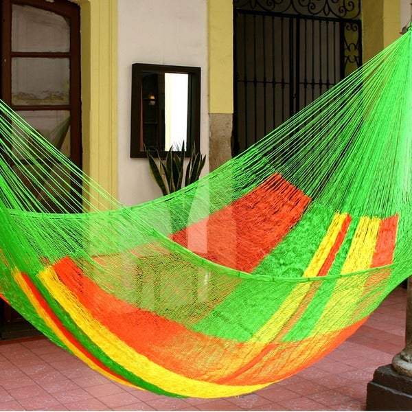 Handmade Tropical Passion Large Deluxe Hammock with Accessories (Mexico)