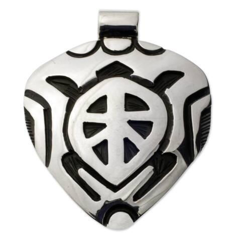 """Sea Turtle Sterling Silver Pendant - 0.9"""" x 1.2"""""""