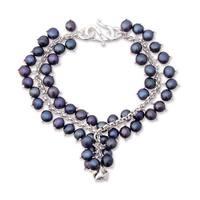 Handmade Sterling Silver Pearl 'Blue Moon Rose' Bracelet (Thailand)