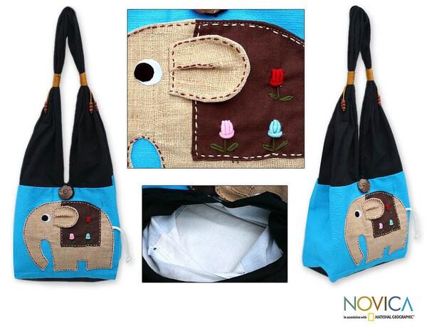 'Happy Elephant' Cotton Handbag (Thailand)