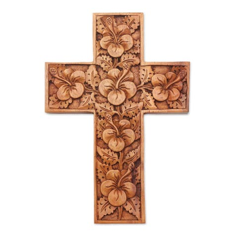 Handmade Hibiscus Mahogany Cross (Indonesia)
