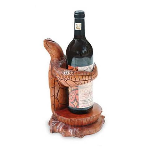 Handmade Wood 'Gift from the Sea' Wine Bottle Holder (Indonesia)