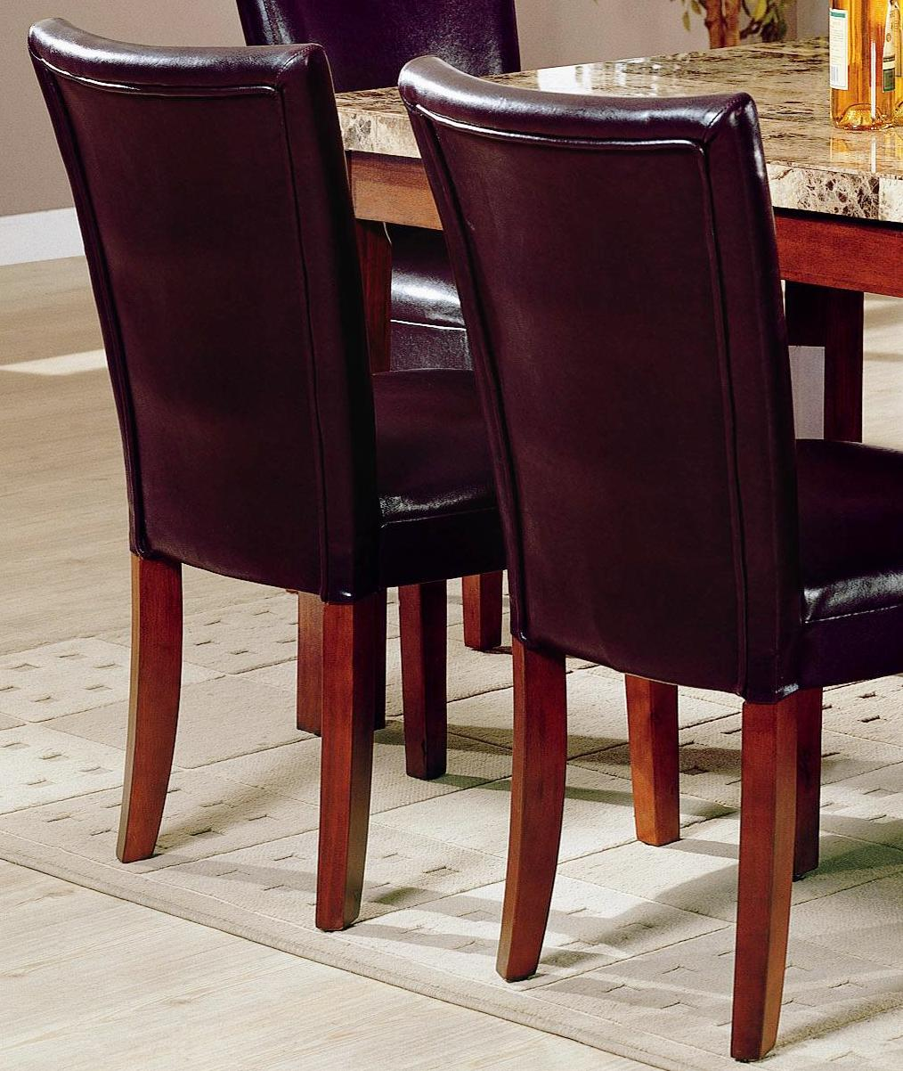 A Glass And Gold Bar Cart Brown Leather Armchair And: Dark Brown Bicast Leather Parson Chairs (Set Of 2)