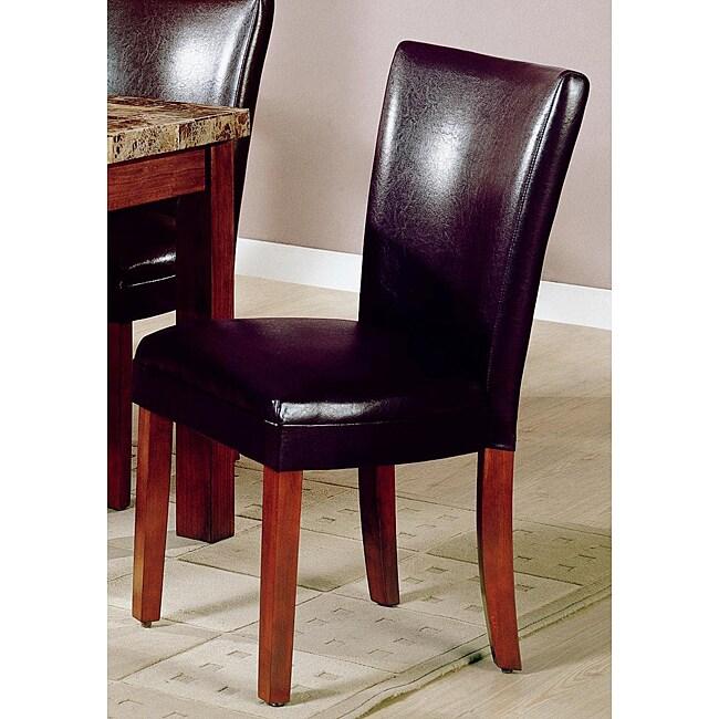 Dark Brown Bicast Leather Parson Chairs (Set of 2)