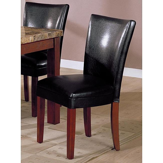Shop Black Bi Cast Leather Parson Chair Set Of 2 Free