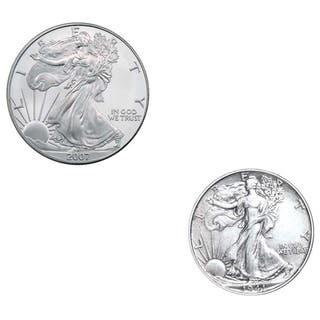 American Silver Eagle and Walking Liberty Half Dollar|https://ak1.ostkcdn.com/images/products/3259617/3259617/American-Silver-Eagle-and-Walking-Liberty-Half-Dollar-P11366269.jpg?impolicy=medium
