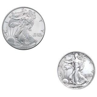 American Silver Eagle and Walking Liberty Half Dollar