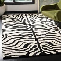Safavieh Handmade Soho Zebra Ivory/ Black N. Z. Wool Rug - 9'6 x 13'6