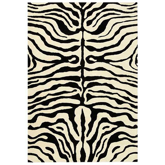 Safavieh handmade soho zebra ivory black new zealand wool for Black and white wool rug