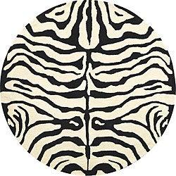 Safavieh Handmade Soho Zebra Ivory/ Black New Zealand Wool Rug (6' Round)