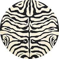 Safavieh Handmade Soho Zebra Ivory/ Black New Zealand Wool Rug (6' Round) - 6'
