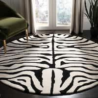 Safavieh Handmade Soho Zebra Ivory/ Black New Zealand Wool Rug - 6' x 6' Round