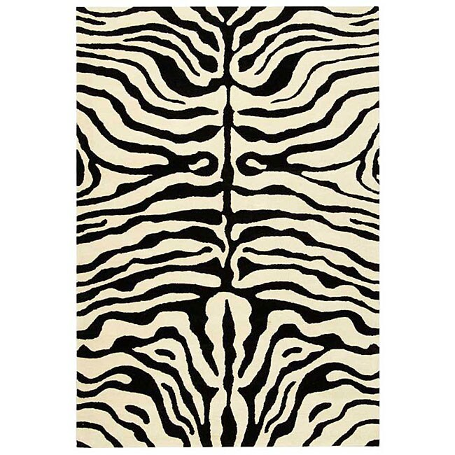 Safavieh Handmade Soho Zebra Ivory/ Black New Zealand Wool Rug (7'6 x 9'6)
