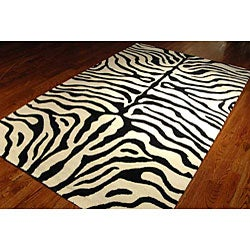Safavieh Handmade Soho Zebra Ivory/ Black New Zealand Wool Rug (7'6 x 9'6) - Thumbnail 1