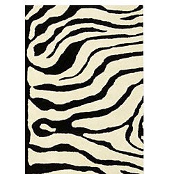 Safavieh Handmade Soho Zebra Ivory/ Black New Zealand Wool Rug (7'6 x 9'6) - Thumbnail 2