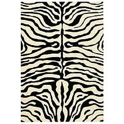 Safavieh Handmade Soho Zebra Ivory/ Black New Zealand Wool Rug - 7'6 x 9'6 - Thumbnail 0