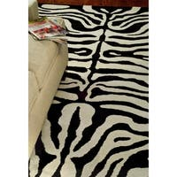 Safavieh Handmade Soho Zebra Ivory/ Black New Zealand Wool Rug - 7'6 x 9'6