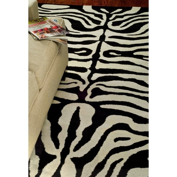 Safavieh Handmade Soho Zebra Ivory/ Black New Zealand Wool Rug - 7'6 x 9'6