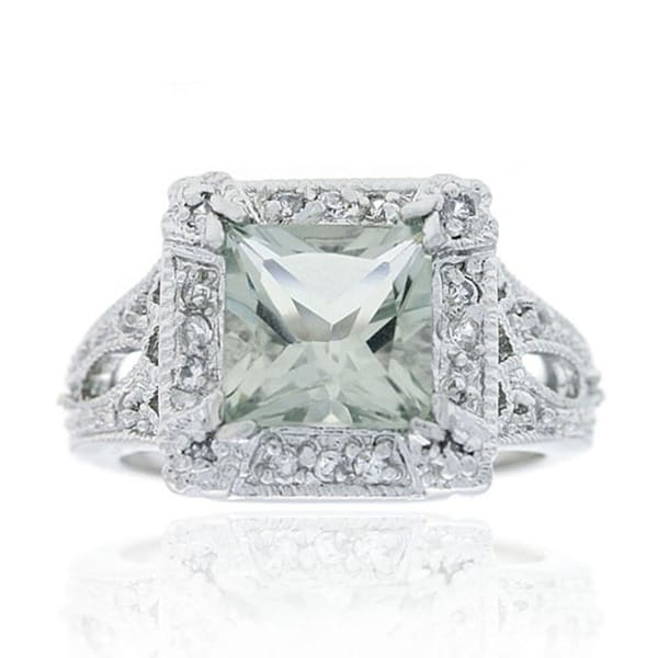 Glitzy Rocks 2 1/6ct TGW Silver Light Green Amethyst and Cubic Zirconia Ring