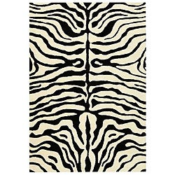 Safavieh Handmade Soho Zebra Ivory/ Black New Zealand Wool Rug (8'3 x 11')