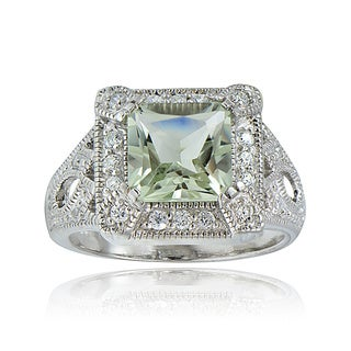 Glitzy Rocks Sterling Silver Gemstone and CZ Ring