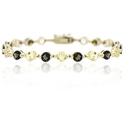 Glitzy Rocks 18k Gold over Silver Citrine and Smokey Quartz Bracelet