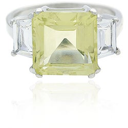 Glitzy Rocks Sterling Silver Lime Quartz and CZ Ring