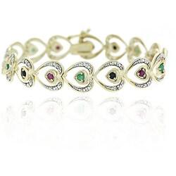 Glitzy Rocks 18k Gold Overlay Ruby, Emerald, Sapphire Bracelet