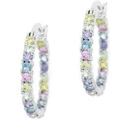 Icz Stonez Sterling Silver Inside-out CZ Hoop Earrings