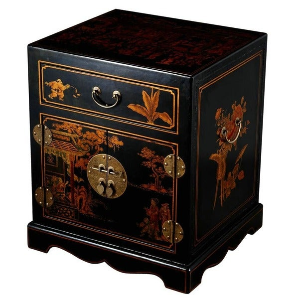 Handmade Chinese Cottage End Table/ Nightstand