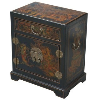 Hand-painted Oriental Accent Table - Black