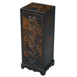 Handmade Hand-painted Oriental End Table - Black (China)
