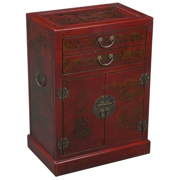 Hand Painted Oriental Wine Bar Cabinet   Red