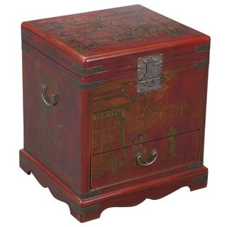 Hand-painted End Table Storage Chest - Red