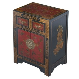 Hand-painted Oriental End Table - Black