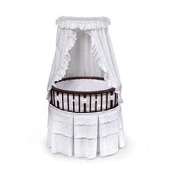 Cherry Elite Oval Bassinet with White Eyelet Bedding
