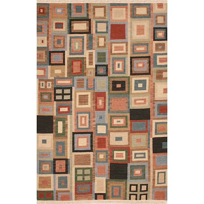 Hand-woven Multicolor Wool Rug - 8' x 10'