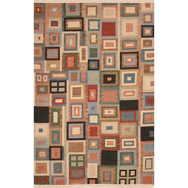 Hand-woven Multicolor Wool Rug - multi - 8' x 10'