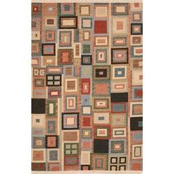 Hand-woven Multicolor Wool Rug - 8' x 10' - Thumbnail 0
