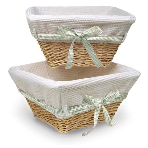 Natural Basket Set with Waffle Liner and Colored Ribbons