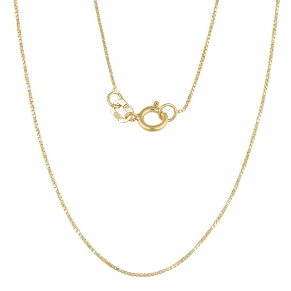 10k solid yellow gold solid box chain up to 28inch 1.2mm